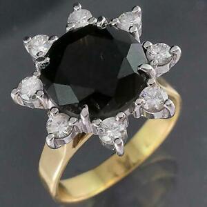 Solid 18k Yellow & White GOLD 4.0ct BLACK DIAMOND 8 Diamond RING Val=$5675 Sz L