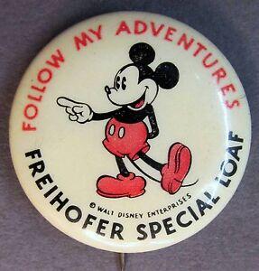 rare 1930's MICKEY MOUSE FOLLOW ADVENTURES Freihoffer Bread pinback button
