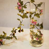 2M LED Artificial Rose Flower Vine String Lights Christmas Decorarion Lamp Bunch