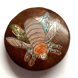 Vintage Button ~ Awesome Large Signed Asian Wood w Pearl Inlay Insect