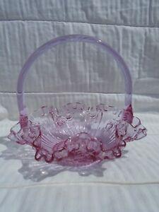 Fenton Pink Glass Cabbage Rose Basket