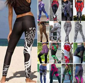 Ladies Fitness Legging High Waist Yoga Print Pants Running Gym Exercise Trousers