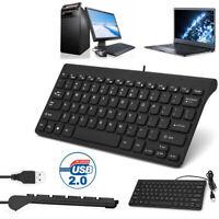 Mini Slim 78 Key USB Wired Compact Thin Keyboard for Desktop Laptop Mac PC Black