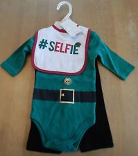 Modern Baby Christmas Selfie Infant Outfit Unisex 6-9 Months