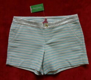 Lilly Pulitzer Callahan Party Shorts Womens Size 6 Bayview Stripe Metallic