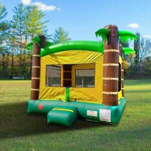 Kids Inflatable Bounce House With Blower Residential Tropical Island Jump Castle