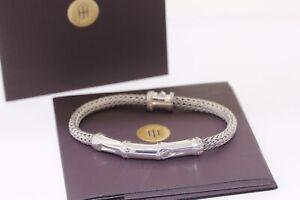 JOHN HARDY Sterling Silver .925 Bamboo Station Woven Wheat Chain Bracelet 7 inch