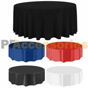 "84"" Round Tablecloth Plastic Banquet Party Table Cover Vinyl Color"