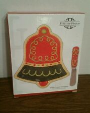 New Fitz Floyd Christmas Sugar Coated Snack Plate Spreader Bell Dish Nib