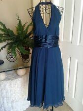 MAGGY LONDON Teal Green Silk V Neck Halter Dress Size 6 MSRP $103.50