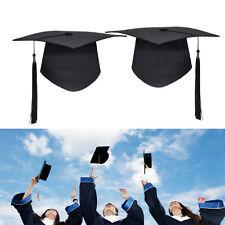 Student Black Mortar Board Hat Adults Teacher College Graduation Cap Fancy Dress