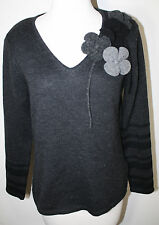 OUI Black Gray Wool Blend Floral Embellished LS Sweater S