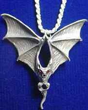 LOOK New Large Big Gothic Vampire Prince Dracula Bat Sterling Silver Ruby eyes c