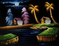 "Painting On Velvet Cloth Beautiful Midnight in a Village 19""X16"" Best Price"