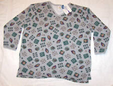 JMS Plus Fleece VNeck Tunic Print Sweatshirt 1X NWT.