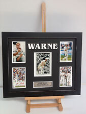 UNIQUE PROFESSIONALLY FRAMED, SIGNED SHANE WARNE PHOTO COLLAGE WITH PLAQUE.