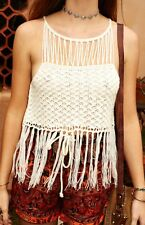 MINKPINK Macramed Fringed Crochet Top