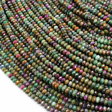 """Natural Ruby Fuchsite 4mm Faceted Rondelle Beads Gemstone 16"""" Strand"""