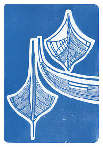 Viking ships - sea blue, original artwork, signed, blue, ltd edition