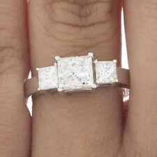 GIA Certified Diamond 3 Stone Engagement Ring 1.10 CT Princess Cut 14K Gold