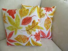 Set 2 Autumn Leaves Yellow Red Pink Brown Polyester Blend Cushion Cover FREEPOST