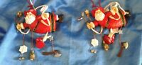 "Christmas Ornament Vintage FireFighter Santa Claus NEW OLD STOCK 4""  Lot of 2"