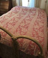 Antique Jacquard Coverlet 85 X 75 floral trellis design