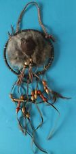 Vintage Native American Dream Catcher With Animal Face In Centre Feathers Beads