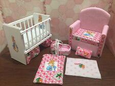 Barbie Baby Nursery Set furniture crib & sofa & Carrier. Peter Rabbit