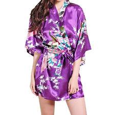 Women Nightdress Satin Lace Kimono Sleepwear Lingerie Dressing Gown Robe UK34-46