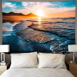 Beautiful Sunset Tapestry The Great Wave Beach Blue Sea Wall Hanging Tapestries