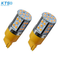 2 × No Resistor Amber-Yellow 7440 35SMD T20 LED Bulbs Turn Signal Lights canbus