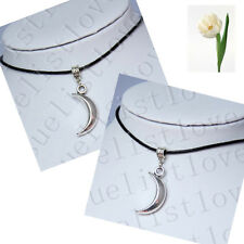 Pretty Moon Crescent Pendant Choker Necklace with Black Genuine Leather Cord