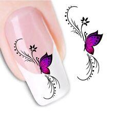 Nail Art Sticker Water Decals Transfer Stickers Purple Butterfly (XF1438)