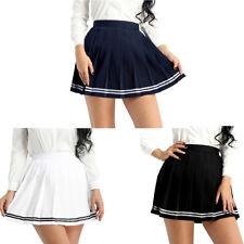Japanese Womens School Girls High Waisted Pleated Mini Skirt Tennis Sport Skirt