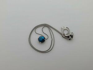 David Yurman Sterling Silver Chatelaine Pendant Necklace with Turquoise