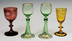 4 Early Antique Glass Ruby Green Yellow Cordial Cordials