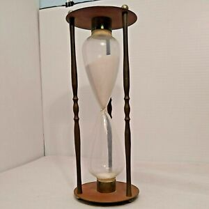"""Vintage Solid Brass & Glass Hourglass10.5"""" Tall. 30 min timer."""
