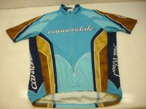 Men's M Cannondale Full Wood Cycling Racing Jersey USA Made 3/4 Zip Short Sleeve