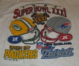 SUPER BOWL XXXI New England Patriots vs GREEN BAY PACKERS (LG) Shirt BRET FAVRE