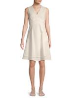 CALVIN KLEIN Size 14 WHITE Sleeveless Empire Waist V NECK Eyelet Dress $129 NEW