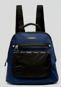 $168 Calvin Klein Nylon Logo Round Backpack, Navy