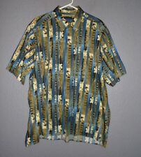 CASA MODA Geo Striped Cotton Short Sleeve Button up Shirt Men's 2XLT  EUC!