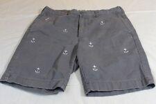 "J CREW Gramercy Anchors Gray Shorts Sz 35"" 100% Cotton"