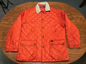 MENS USED POLO RALPH LAUREN ORANGE QUILTED BUTTON UP OUTDOOR JACKET SIZE LARGE