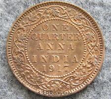 INDIA BRITISH KING GEORGE V 1917 1/4 QUARTER ANNA, AUNC TRACES OF LUSTRE