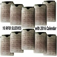 RFID Blocking Credit Card Protector Sleeves with 2016 Calendar with Holidays
