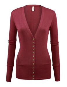 Women's V-Neck Cardigan Sweater Snap Front Long Sleeve Basic Classic Soft Knit