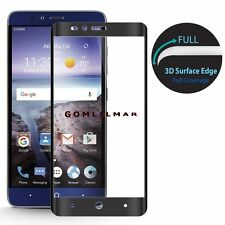 Tempered Glass Screen Protector FULL COVERAGE  For ZTE Zmax Pro Z981 black