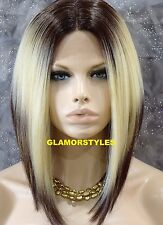 "15"" Straight Short Bob Brown Blonde Mix Full Lace Front Wig Heat Ok Hair Piece"